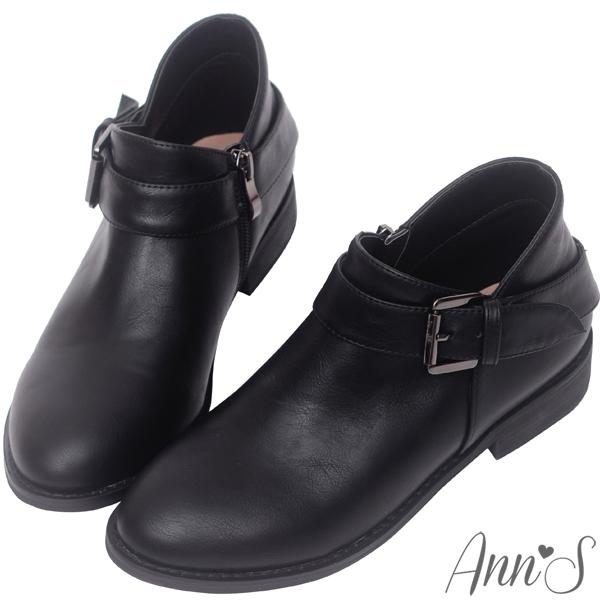 滿千送鞋材組合包Ann'S實穿款-V弧型單扣帶平底短靴-黑