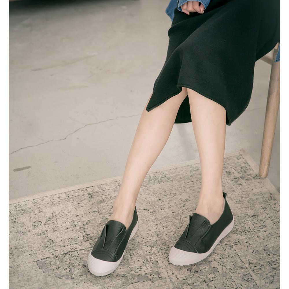 全真皮軟軟貝殼休閒鞋 黑 SP9-7BK (版型偏小)