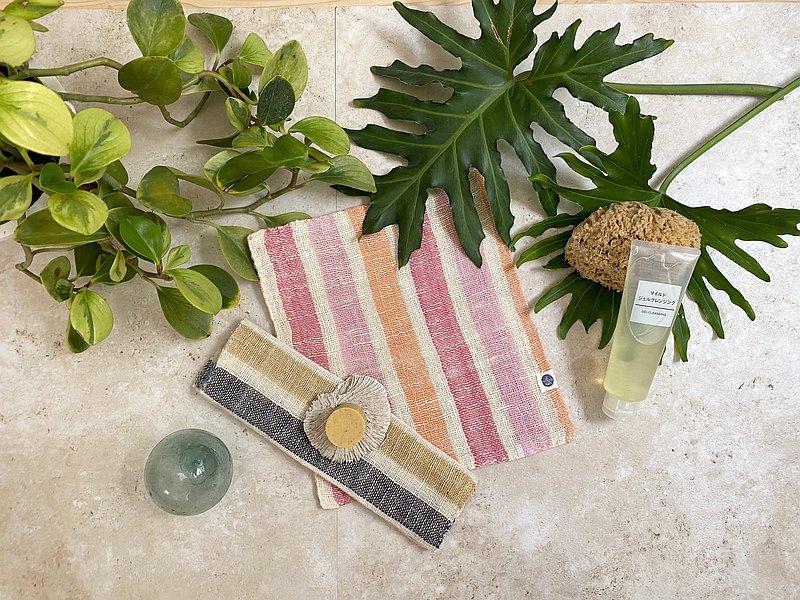 淨顏按摩 // 養膚三件組-雙層純棉植物染織巾&手工皂