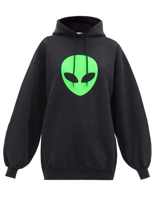 Balenciaga - Alien-print Cotton-jersey Hooded Sweatshirt - Womens - Black Print