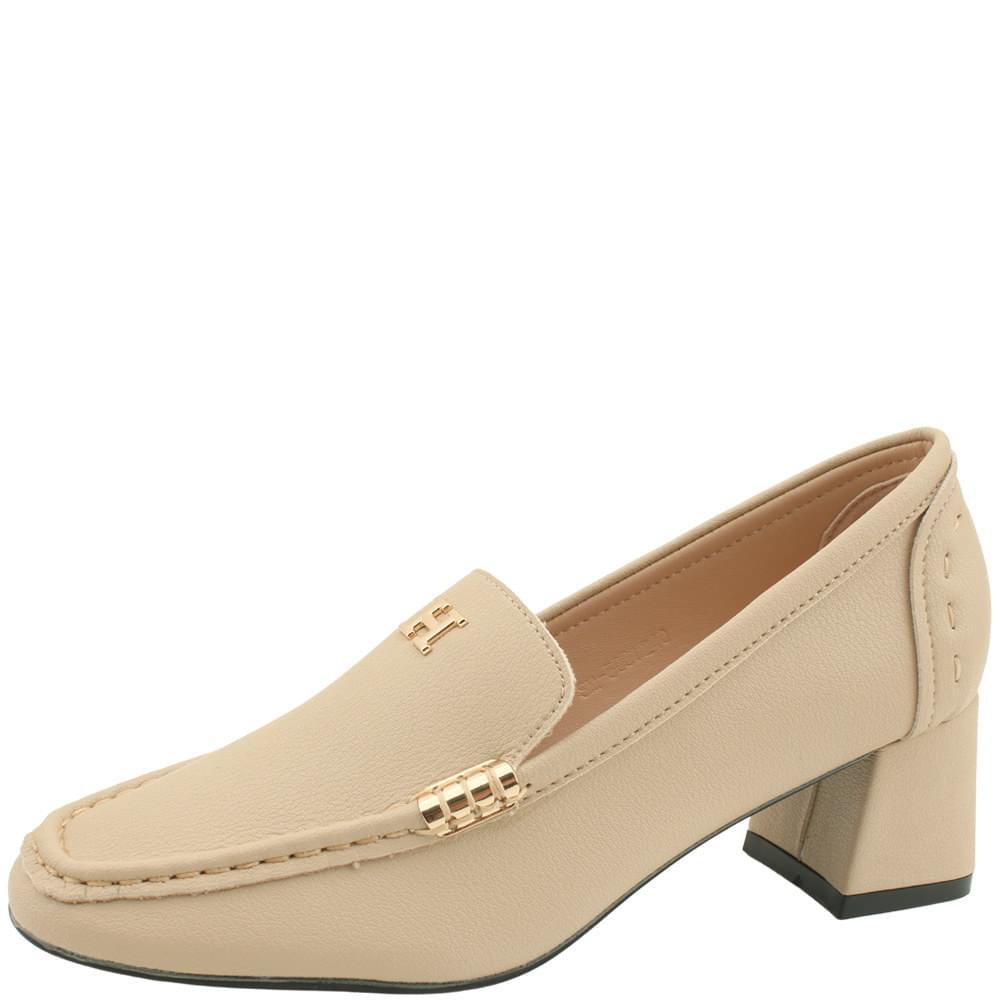 韓國空運 - Cowhide Gold Metal Middle Heel Loafers Beige 樂福鞋
