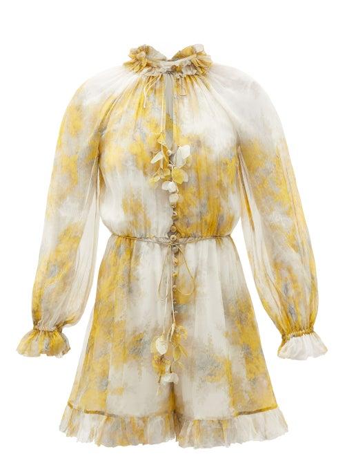 Zimmermann - Botanica Wattle-print Silk-georgette Playsuit - Womens - Yellow Print