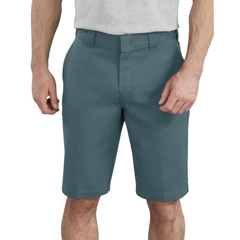 "【DICKIES】WR860  11"" FLEX Active Waist Flat Front Shorts 中低腰直筒斜紋布 工作短褲 (林肯綠LN)"