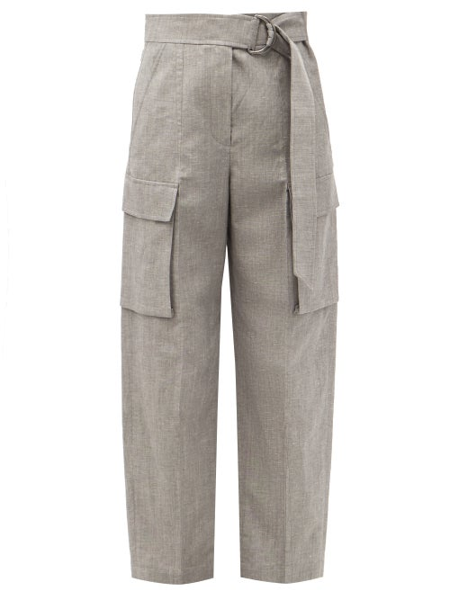 Brunello Cucinelli - Belted Cropped Wool-blend Trousers - Womens - Mid Grey