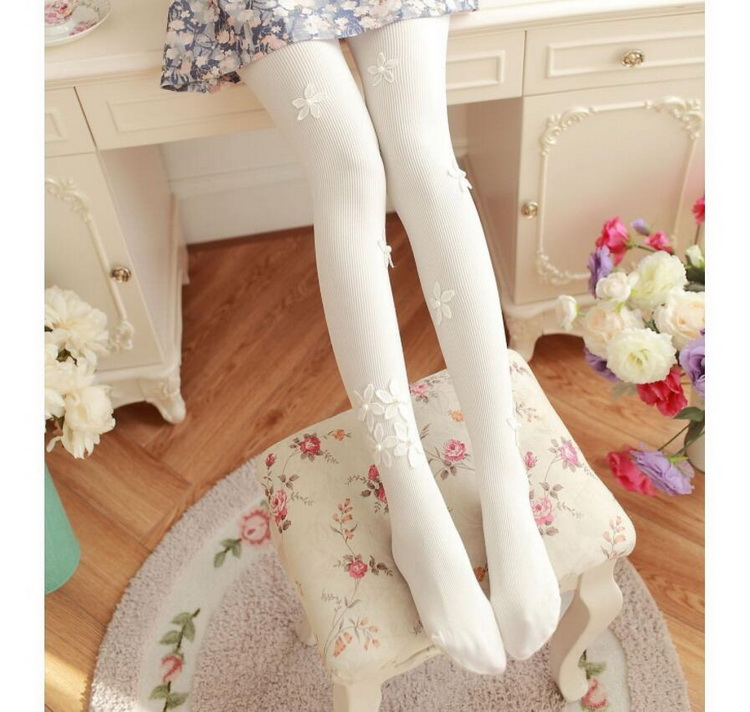 VIVILIAN日系甜美小蘿莉減齡豎條珍珠花朵百搭美腿顯瘦厚款連體襪