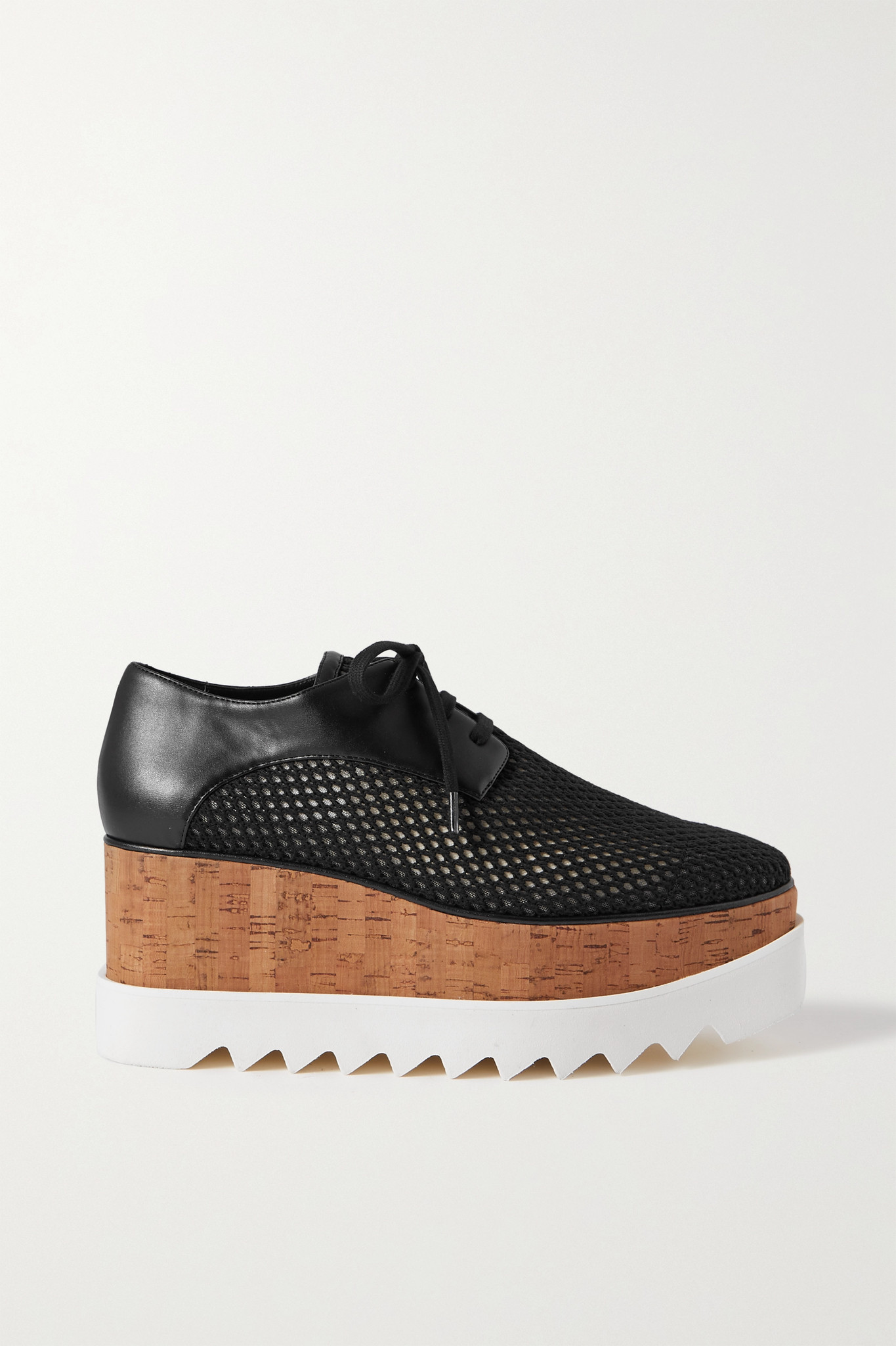 STELLA MCCARTNEY - Elyse Mesh And Vegetarian Leather Platform Brogues - Black - IT36.5