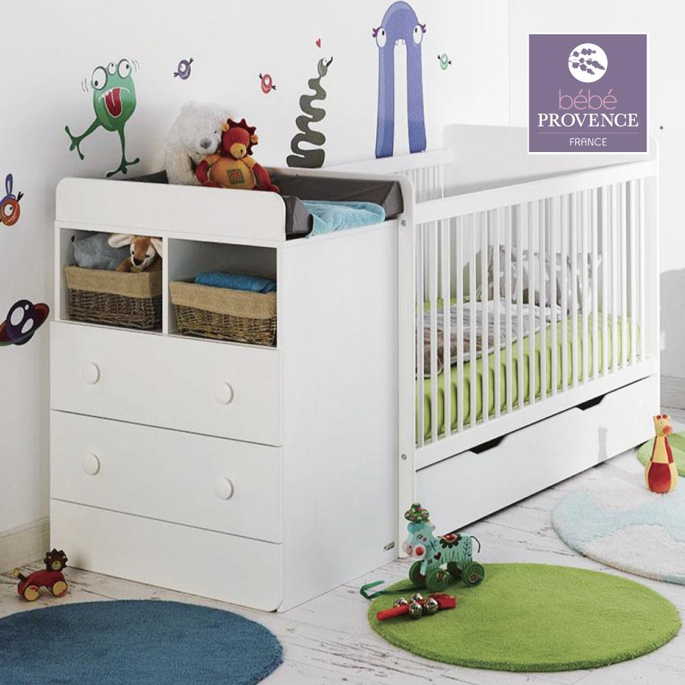 【免費宅配到府安裝】bébé provence法國天然實木多功能成長床櫃組/嬰兒床-麥爾特Malte-白(床架x1+床墊x1+床櫃x1+抽屜x1)