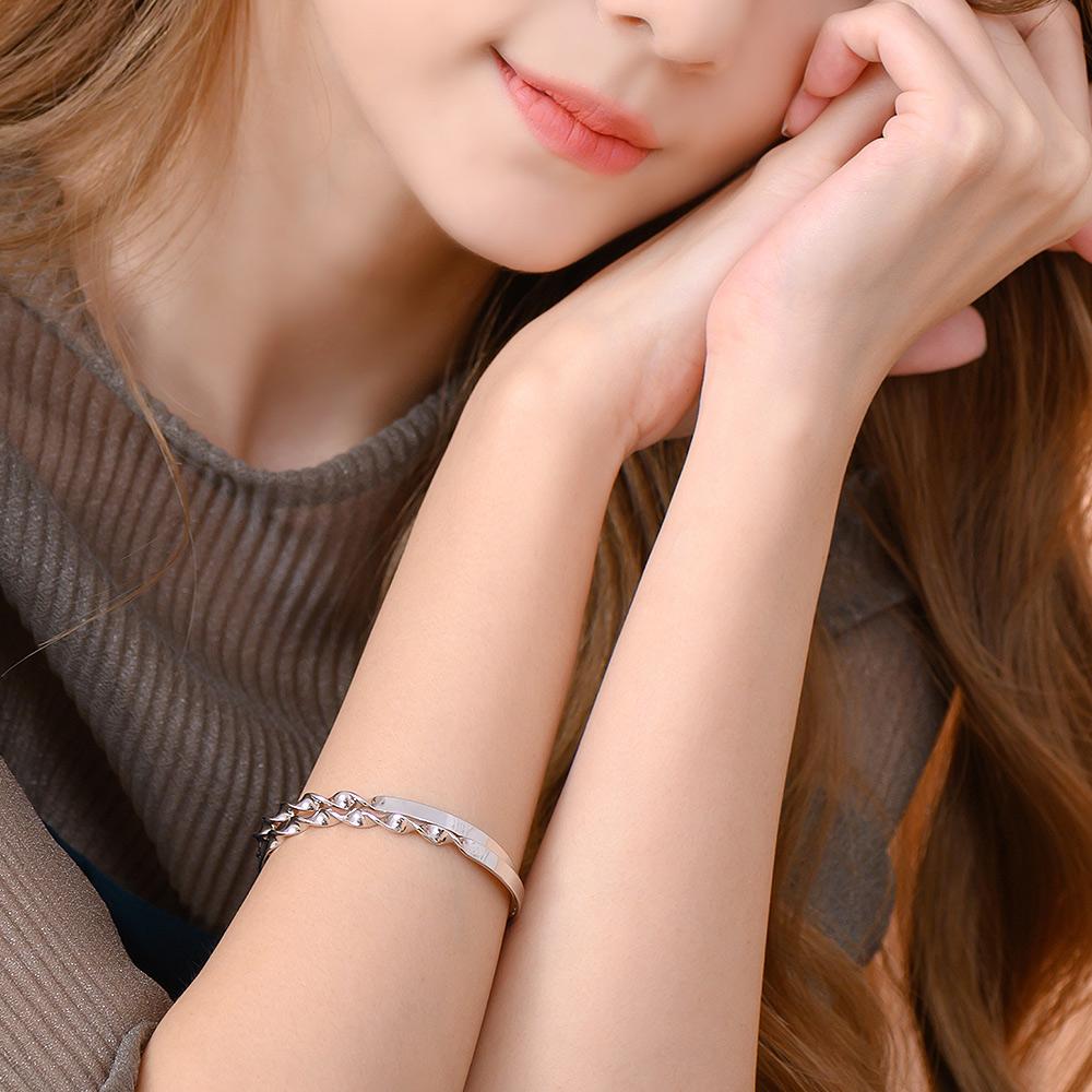 簡約雙扭麻花開口手環(2色)-E20073