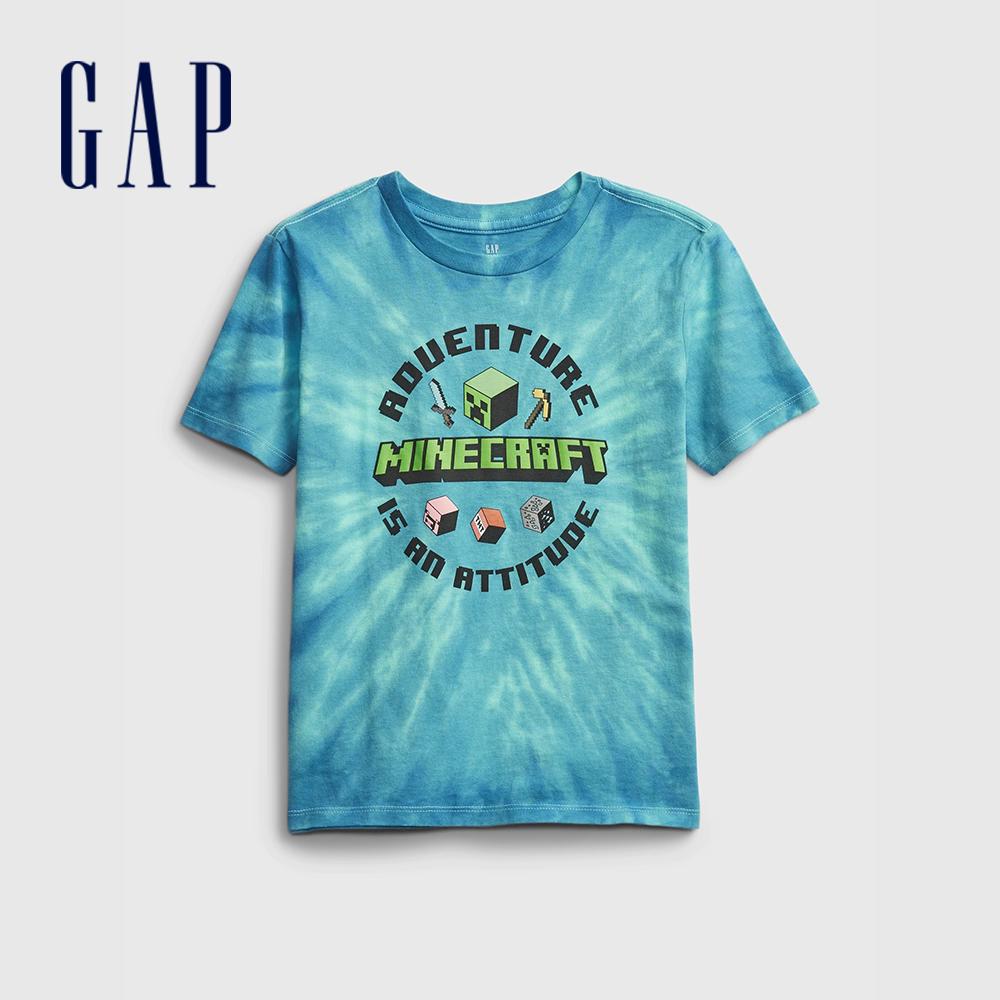 Gap 男童 時尚印花圓領短袖T恤 664543-藍綠色紮染