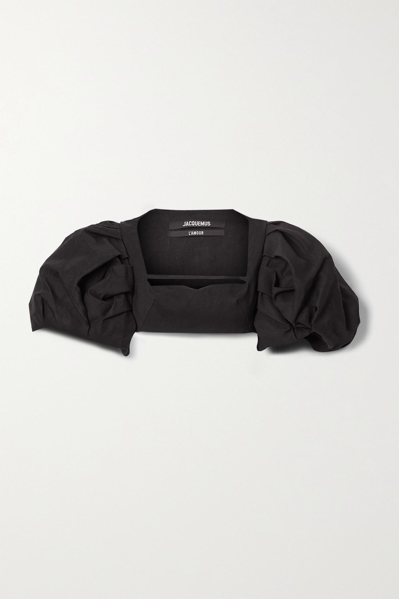 JACQUEMUS - Camargue Cropped Hemp-blend Top - Black - FR34