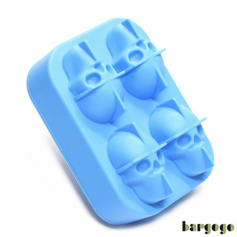 Bargogo 4格骷髏頭造型矽膠製冰盒(可當副食品分裝盒)-兩入組
