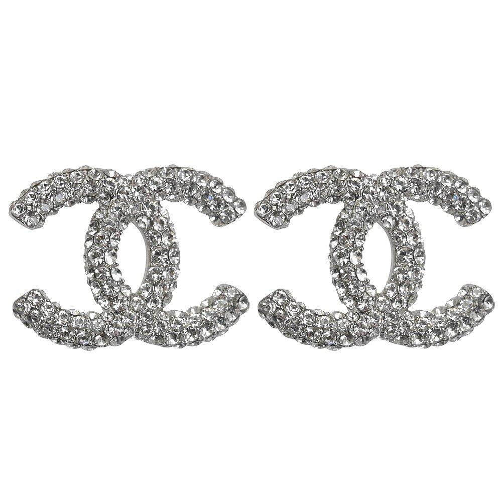 CHANEL 專櫃商品 AB5609 大雙C LOGO水鑽造型耳環.銀