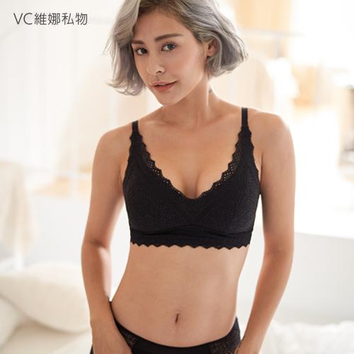 無鋼圈內衣包好好法式蕾絲調整款-黑色VC維娜私物36058