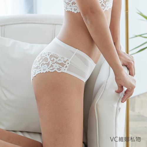 無痕內褲天使蕾絲透膚網紗款-大蕾絲(白色) VC維娜私物 *任選3件499元*36006P