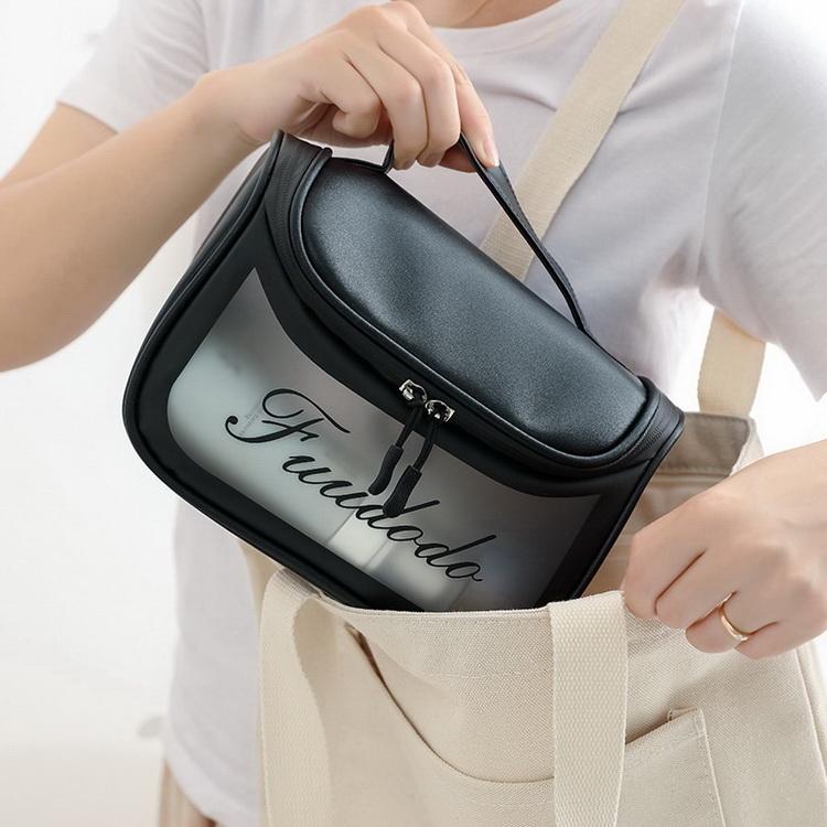 VIVILIAN大容量透明防水防塵網格夾層超實用手提化妝包/露營洗漱包