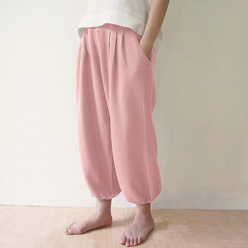 【新品上架】紗織打褶褲-淺粉