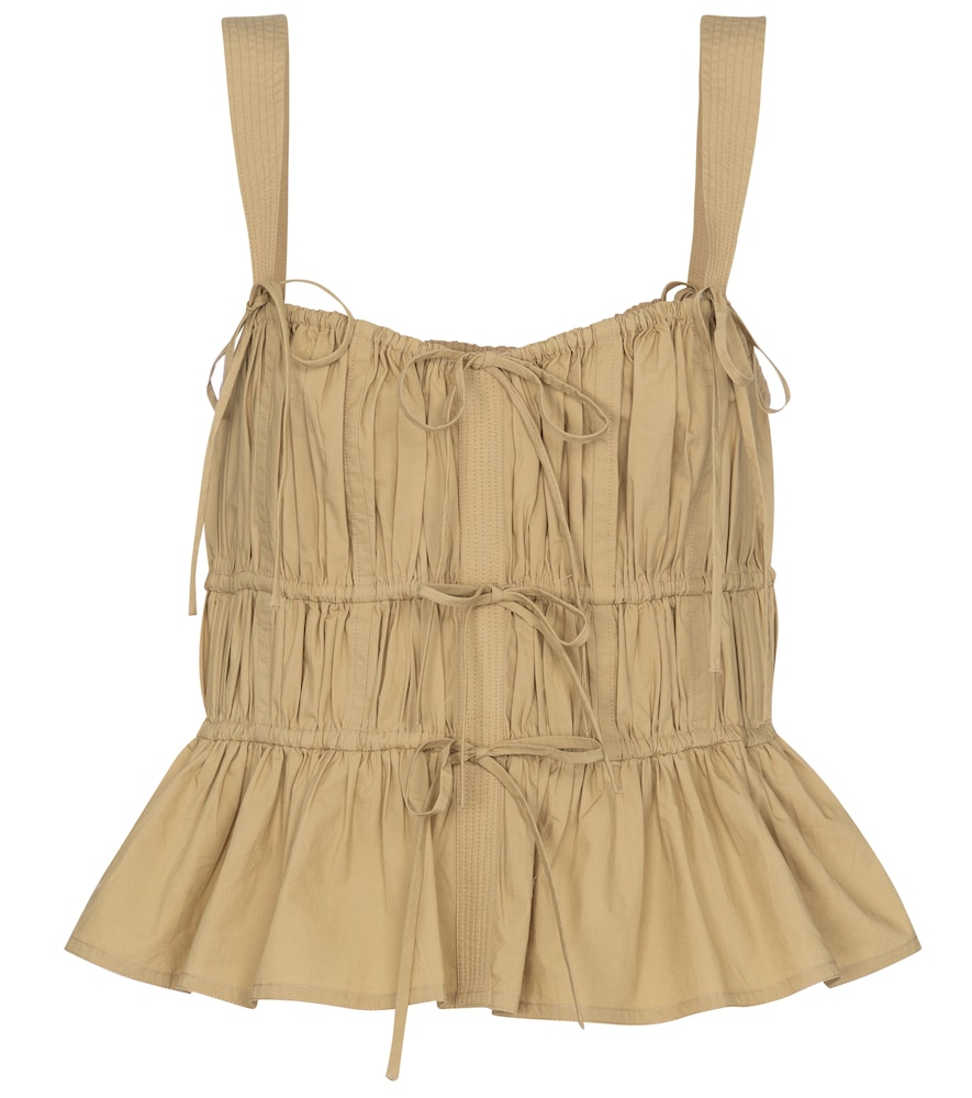 Lulu smocked cotton tank top