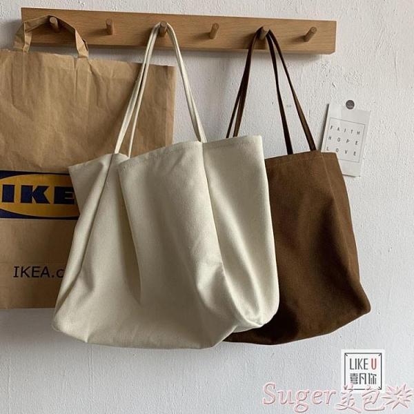 手提包 韓版大容量慵懶風ins手拎側背包環保購物袋簡約文藝帆布包書包女  【618 大促】