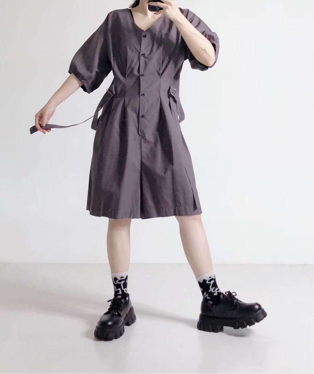 Chemistry_Girls - 韓國 五分寬褲連身裝 (二色)