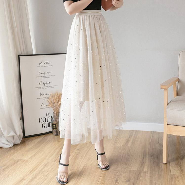 VIVILIAN日系甜美少女心星星亮片高腰超大裙擺顯瘦長版半身裙