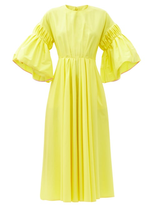 Roksanda - Iosefina Fluted-sleeve Cotton-poplin Midi Dress - Womens - Yellow