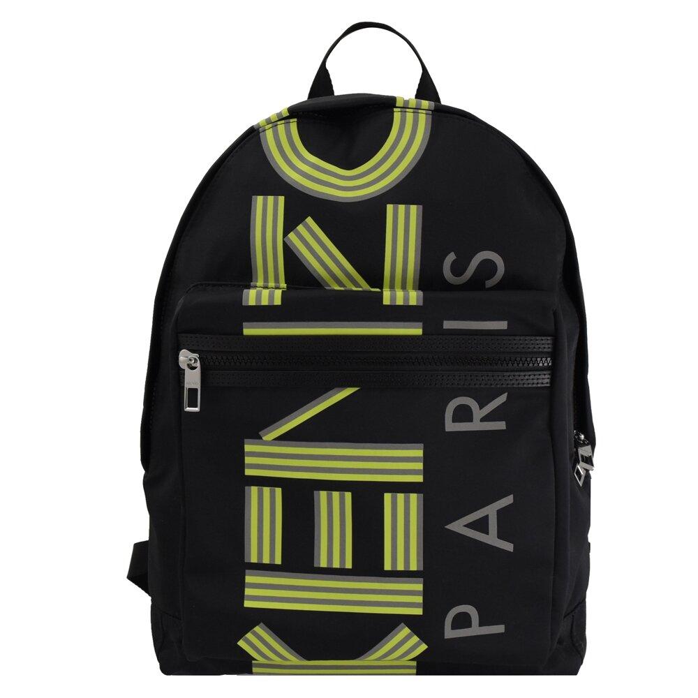 KENZO 專櫃商品 5SF213 經典字母幾何尼龍後背包.黑 大