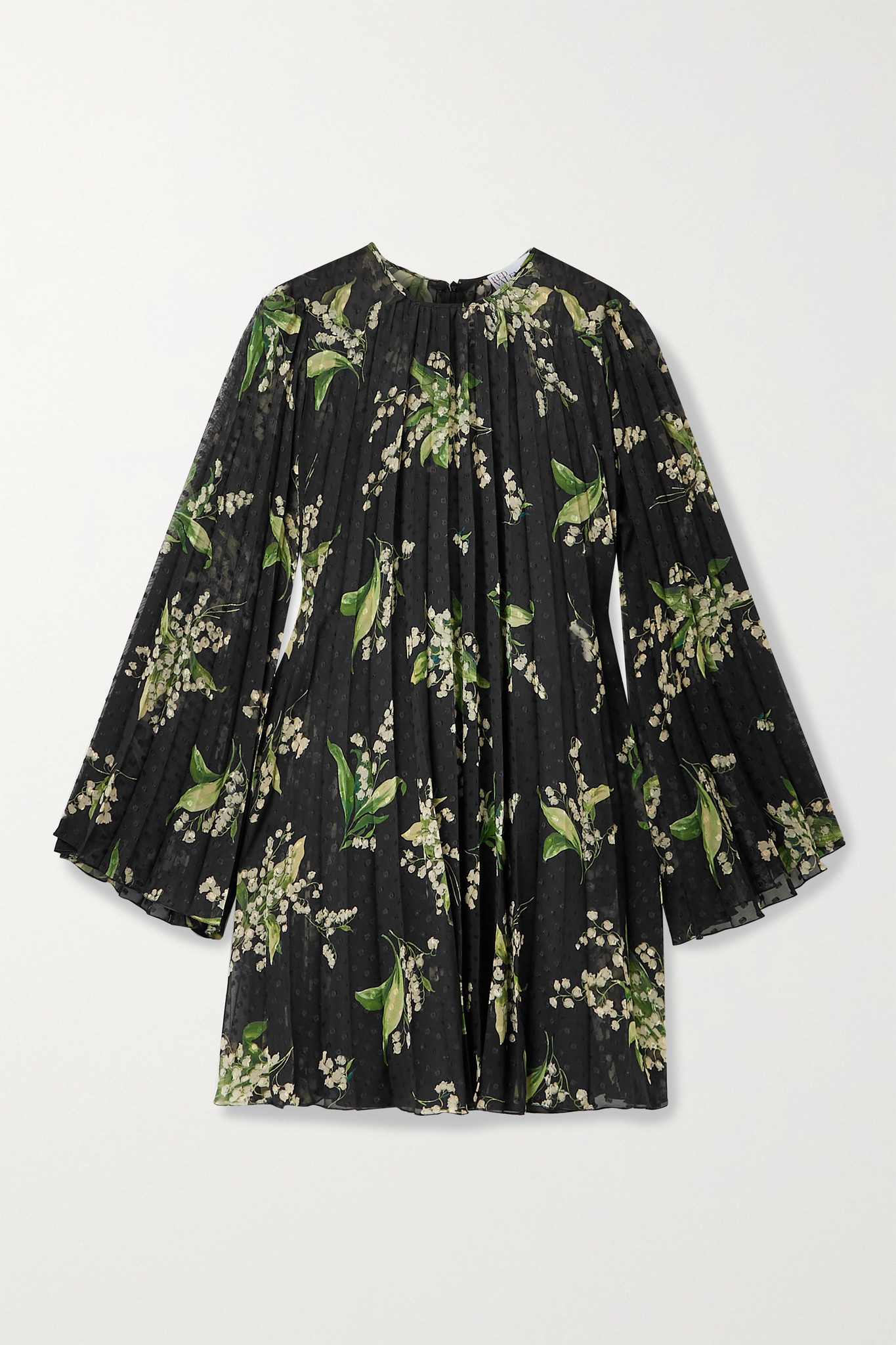 REDVALENTINO - Pleated Floral-print Fil Coupé Chiffon Mini Dress - Black - IT36