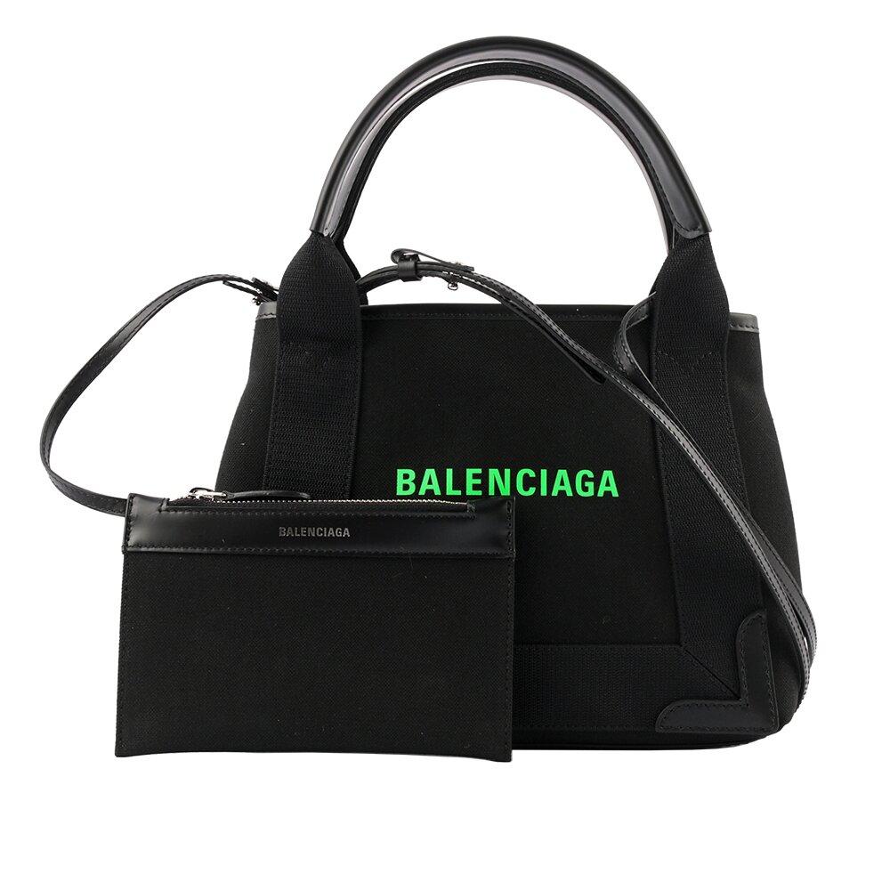 BALENCIAGA NAVY CABAS 帆布二用包/子母包(XS號)(黑色/螢光綠) 390346 2HH7N 1063