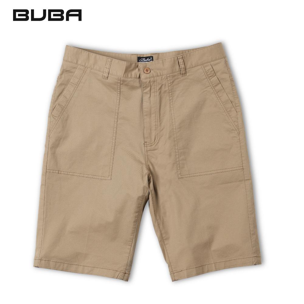 【BUBA】大尺碼卡其大貼袋修身彈性短褲38~48腰 11518-35