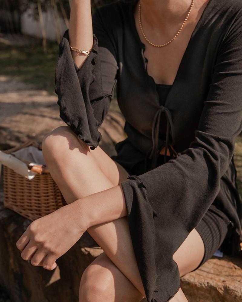 優雅女人綁帶設計上衣-Mercci22