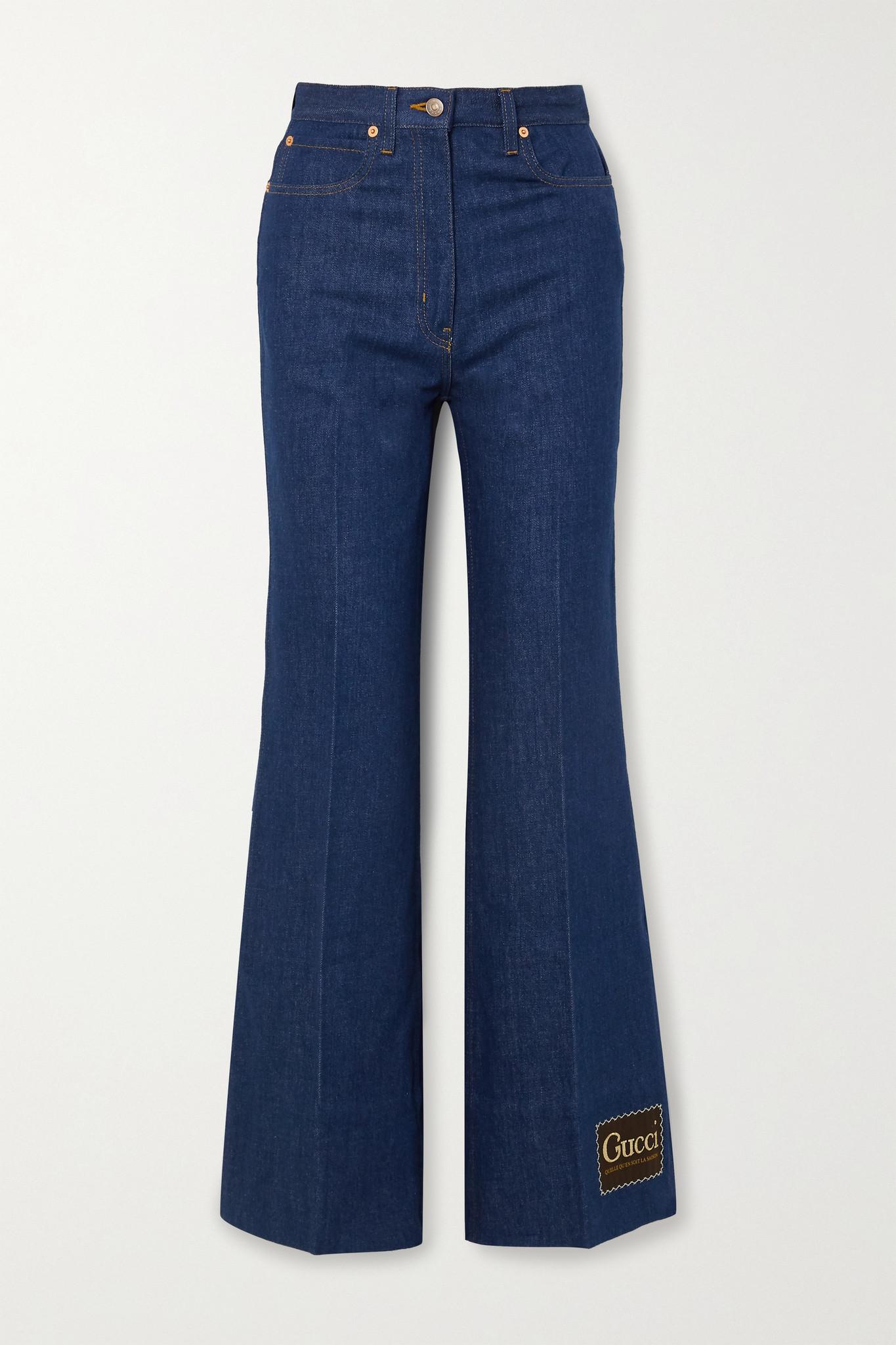 GUCCI - Appliquéd High-rise Wide-leg Jeans - Blue - 28