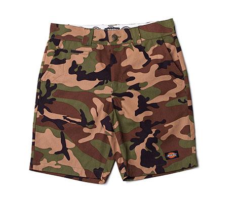 【DICKIES】SR001 WDP16127 中低腰窄版斜紋布 工作短褲 (迷彩)