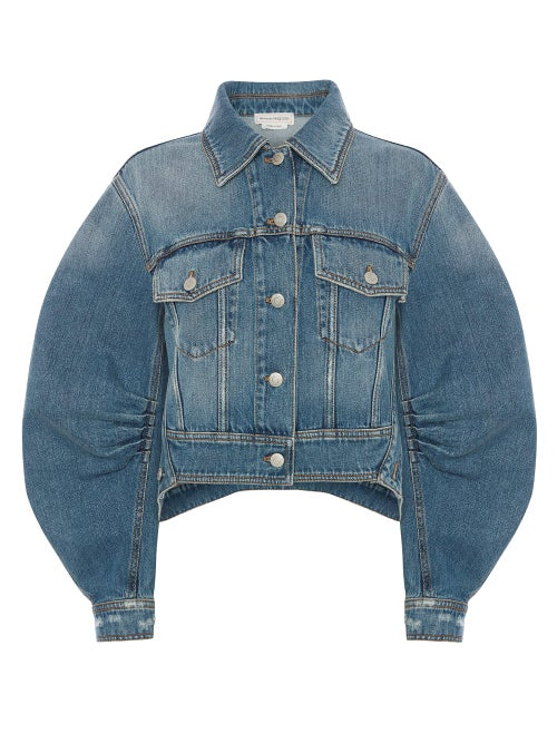 Alexander Mcqueen - Voluminous-sleeve Cropped Denim Jacket - Womens - Denim