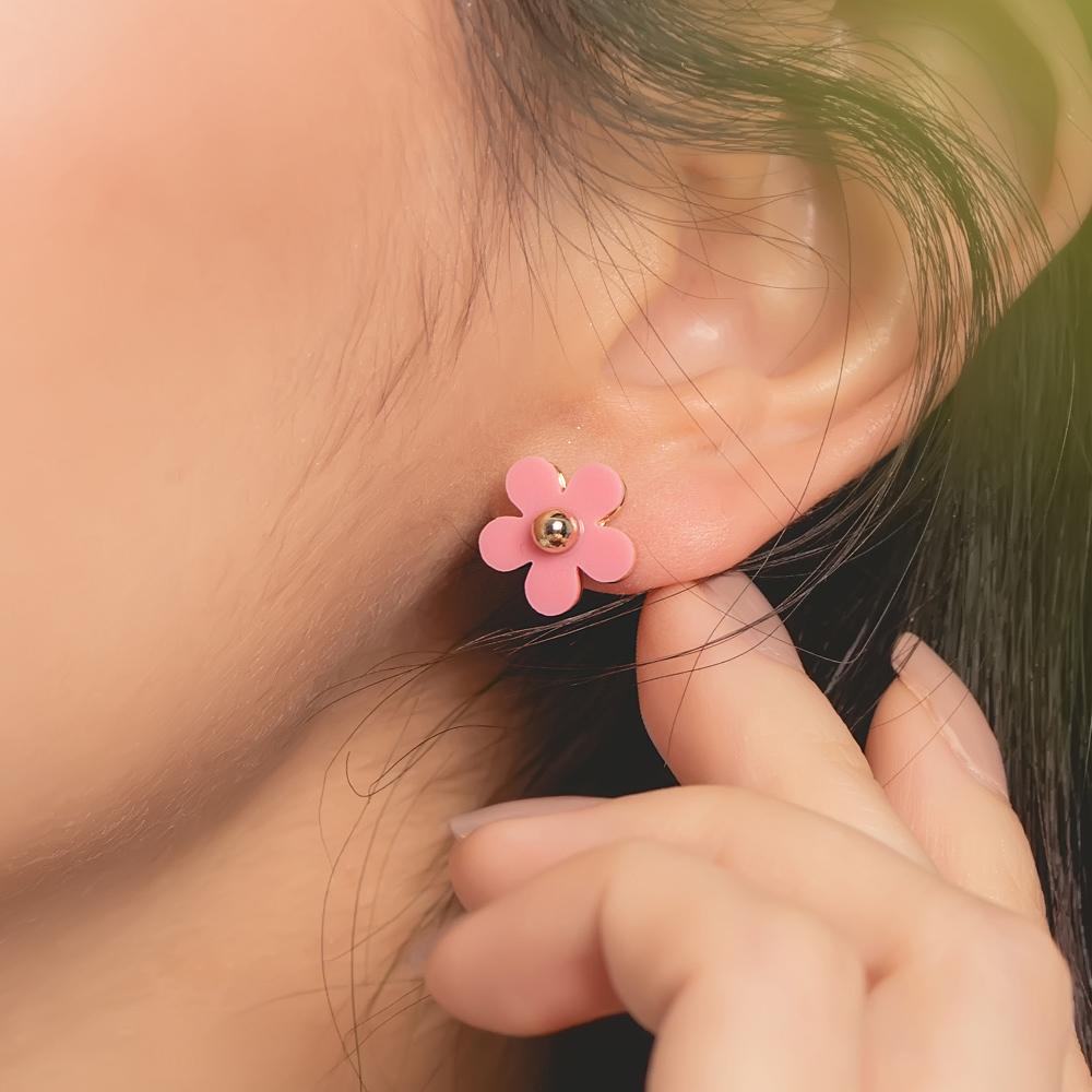 童趣小花朵鈦針耳環(2色)-A20092