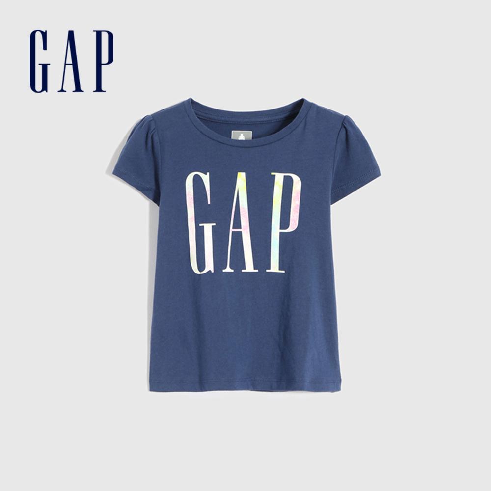 Gap 女幼童 布萊納系列 Logo純棉短袖T恤 829003-海軍藍