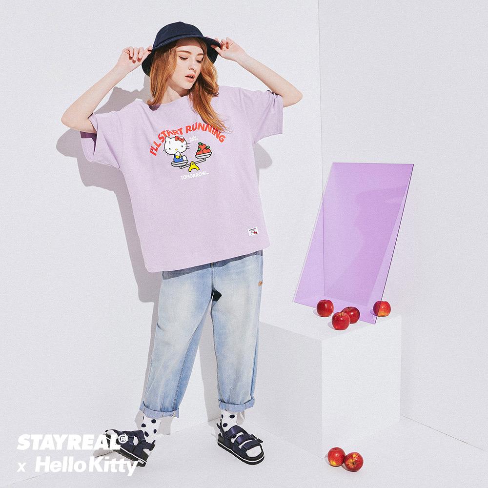 STAYREAL x Hello Kitty 動起來!凱蒂寬版T