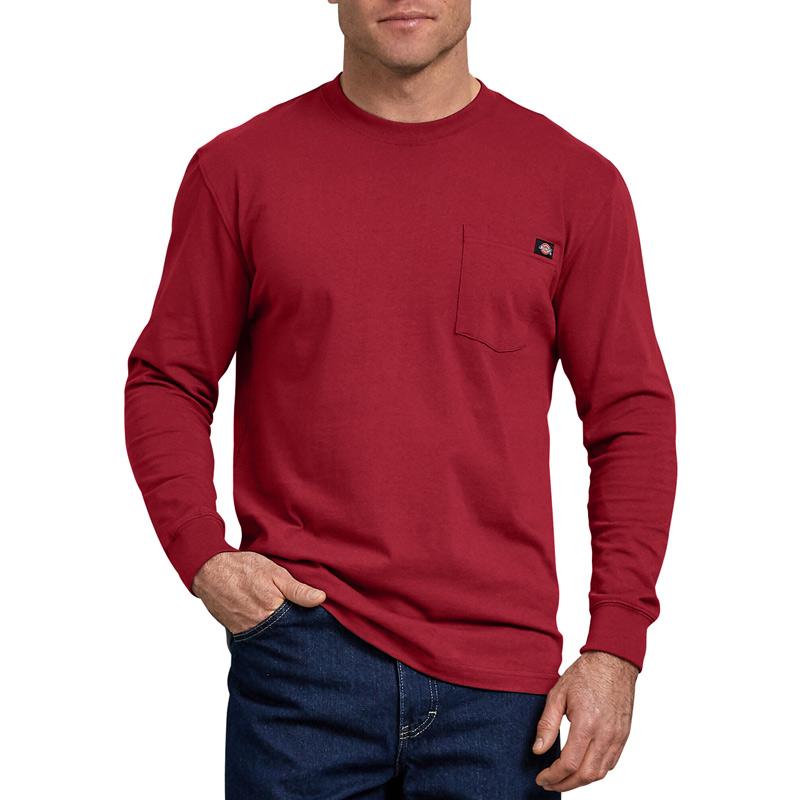 【DICKIES】WL450 重磅素面Logo 口袋 長T (ER 紅色)