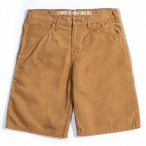 【DICKIES】DX250 11吋 中低腰直筒輕量化 帆布 木匠短褲 (土黃RBD)