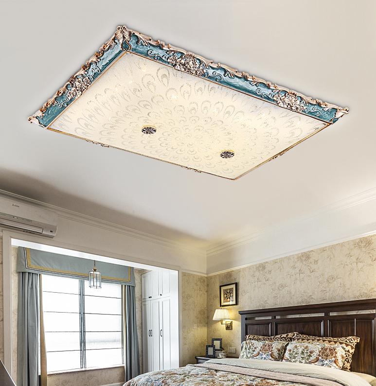85*60cm 無極調光 燈 燈具 110v 美式客廳燈 簡約吸頂燈長方形簡歐創意現代歐式溫馨臥室燈