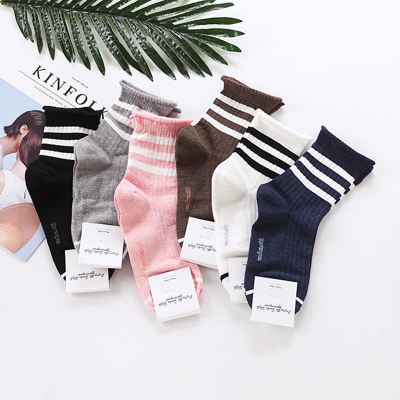 VIVILIAN韓國直送學院風親膚純棉吸汗透氣條紋捲邊彈力中筒襪⑥色