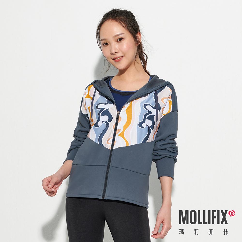 【112 mountainyam聯名】MOLLIFIX 瑪莉菲絲 潮流拼接印花連帽外套 (灰藍)