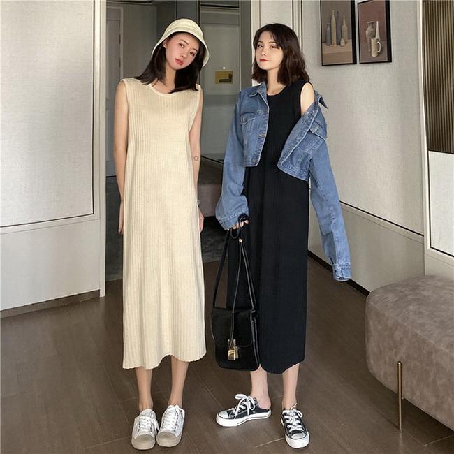 FOFU-針織吊帶設計款連身裙中長背心裙女【08SG04962】