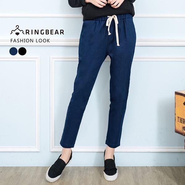 哈倫褲--簡約風格休閒抽繩鬆緊帶率性口袋顯瘦長褲(黑.藍S-6L)-P132眼圈熊中大尺碼