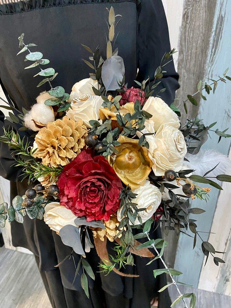 索拉花乾燥花捧花/婚禮婚紗照外拍捧花/新娘捧花/客製捧花/乾燥花