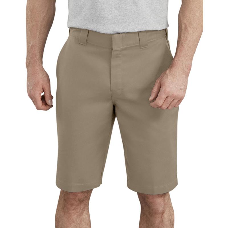 "【DICKIES】WR860  11"" FLEX Active Waist Flat Front Shorts 中低腰直筒斜紋布 工作短褲 (沙色DS)"