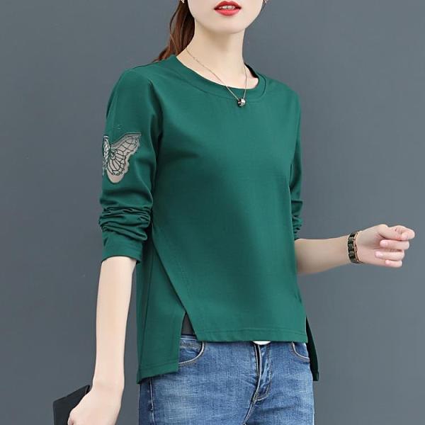 洋氣2021年新款韓版長袖t恤女裝ins春秋季短袖上衣打底衫純棉百搭【快速出貨】