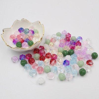 10MM南瓜珠 烤漆仿水晶琉璃玻璃diy飾品 發簪類飾品連接配件 散珠