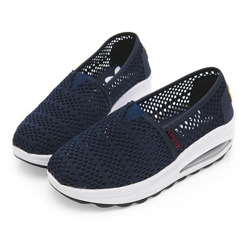 PLAYBOY浪漫蕾絲 透氣輕量氣墊休閒鞋-藍(Y5272)