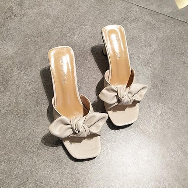 夏季蝴蝶結高跟拖鞋 魚嘴中跟韓版涼拖甜美百搭涼鞋
