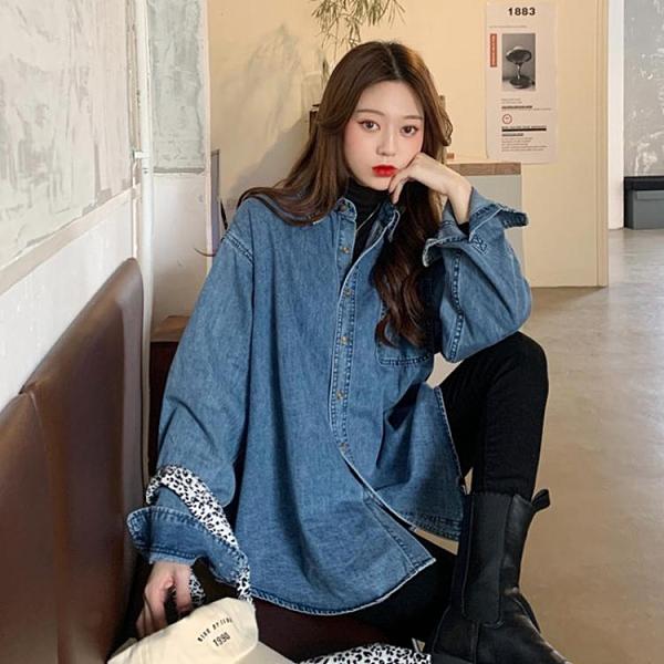 牛仔襯衫外套女復古港味襯衣2021新款春季秋設計感寬鬆長袖上衣服 童趣屋